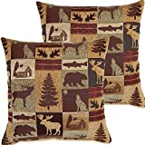 2 Piece 17x17 Brown Nature Theme Throw Pillow, Beautiful Cabin Lodge Pattern Sofa Pillow, Mountain Animals Howling Wolf, Bear, Moose, Trees Print, Hunting Wild Cottage Design, Square Shape, Polyester