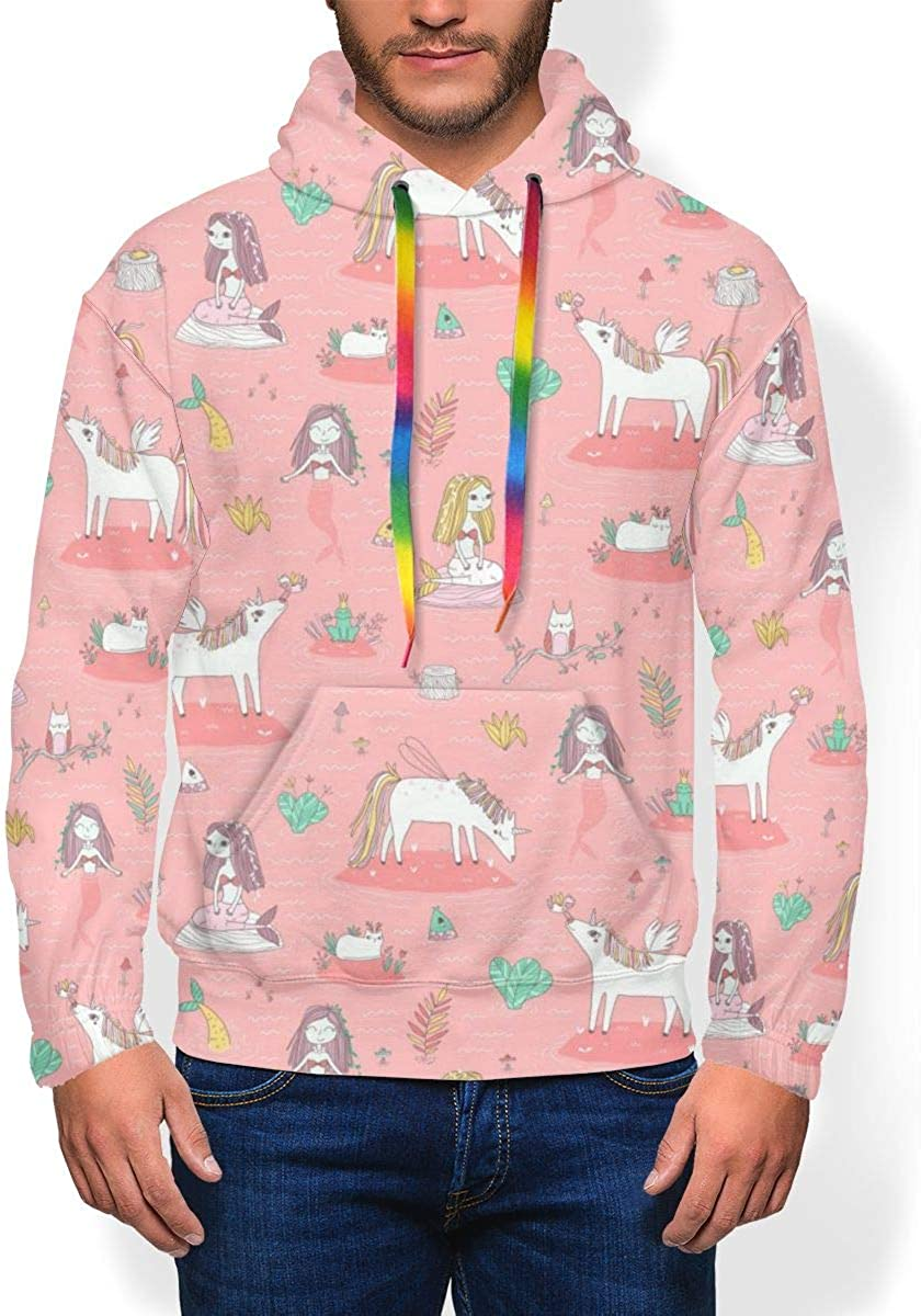 Unicorns and Mermaids Mens Fashion Print Thicken Sweatshirts Hooded Pullover
