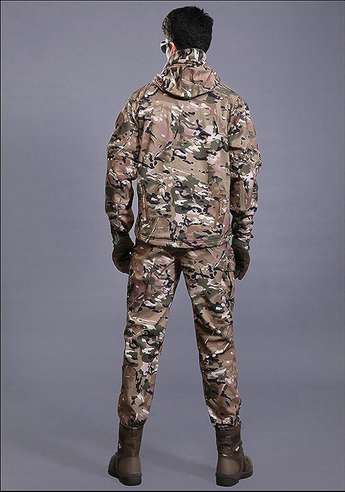 YuanDian Herren Taktisch Softshell Fleecejacke Camouflage Milit/är Hoodie Outdoor Wandern Camping Warm Innenfutter Winddicht Wasserdicht Mantel Jacken Skijacke