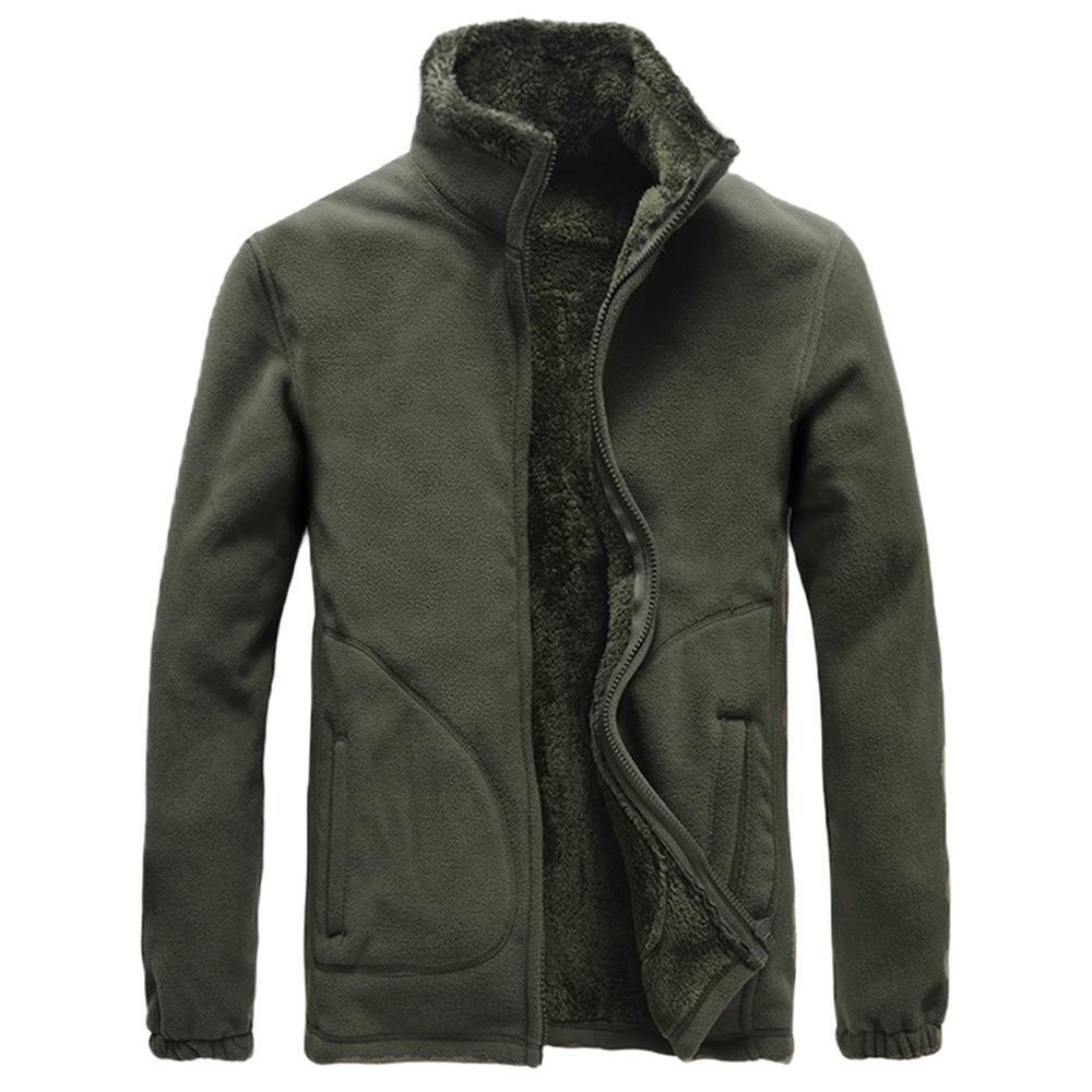 Men's Winter Coat Sale Casual Comfort Long Sleeve Solid Fleece Thicken Windproof Jacket