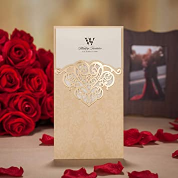 Amazon Com Wishmade Vintage Pocket Wedding Invitations With