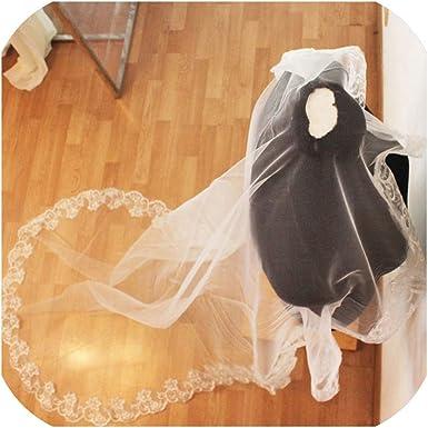 3M One Layer Lace Edge Red White Ivory Cathedral Wedding Veil Long Bridal Veil Veu de Noiva,Beige,300cm