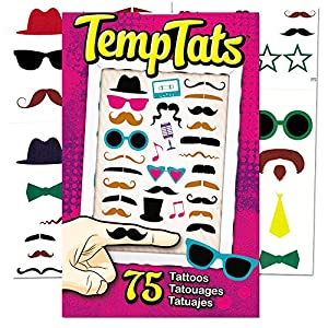 Hipster Temporary Tattoos Party Favors and Costume Set (75 Hipster Tattoos -- Mustaches, Sunglasses and More!)
