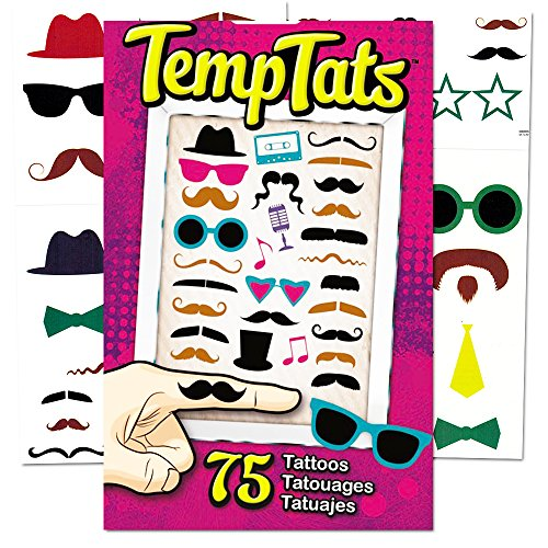 Hipster Temporary Tattoos Party Favors and Costume Set (75 Finger Tattoos -- Mustaches, Sunglasses and -