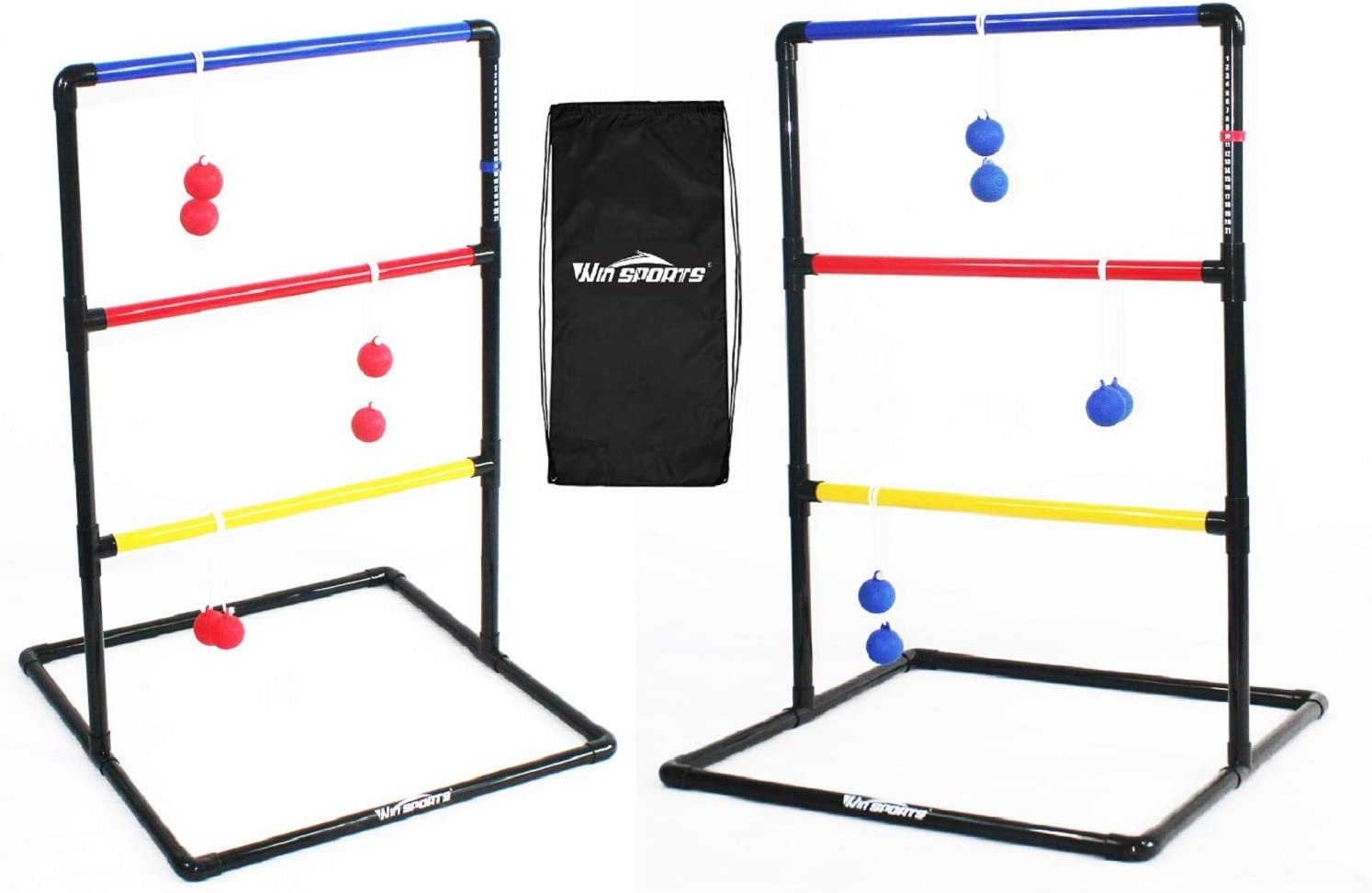 Win SPORTS Indoor/Outdoor Ladder Toss Game Set - Ladder Ball Toss Game with 6 Weighted Bolos, Carrying Case and Sand Weighted PVC Piping - Games for Adults, Kids, Family