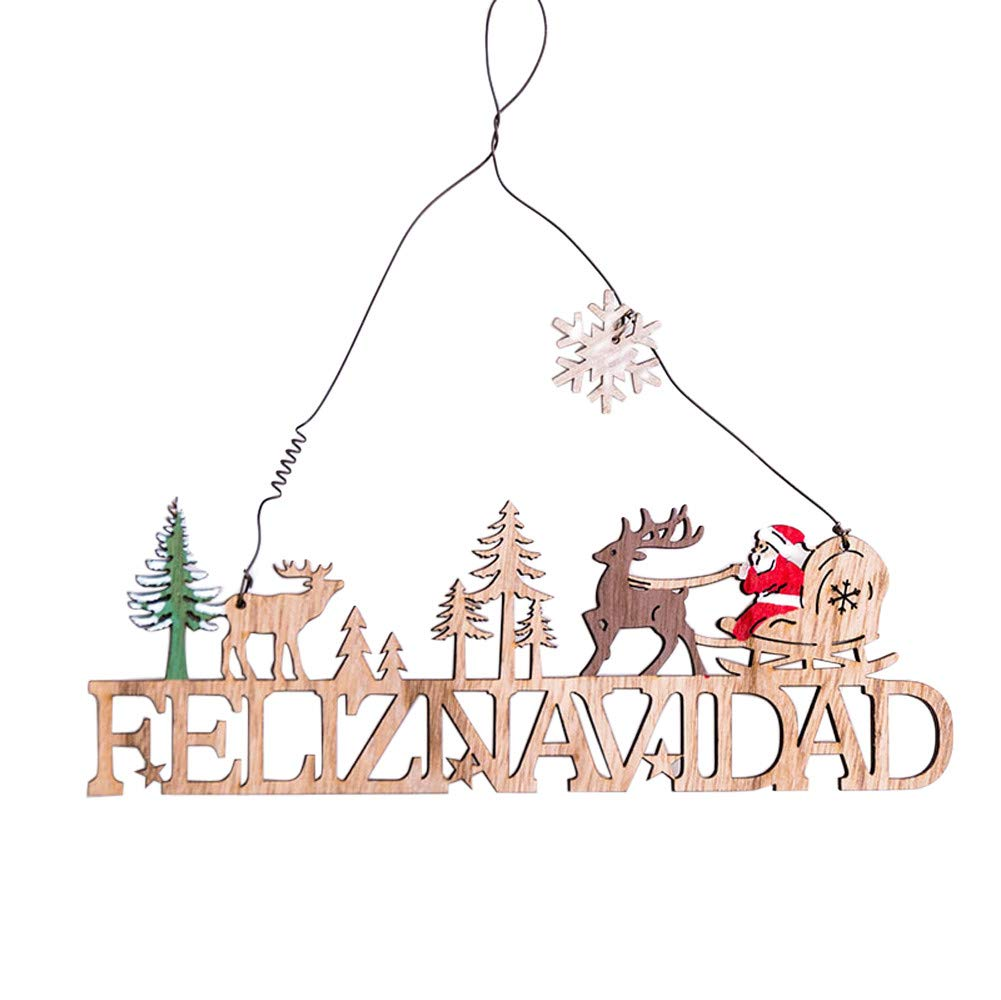 Lovewe Christmas Elk Wood Plate,Hollow Door Hanging,Wooden Pendant,Xmas Ornaments Decor (D)