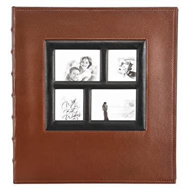 Magnetic Self-Stick Page Photo Album, Family Album Self Adhesive Large Leather Cover Photo Albums with 30 Sheets / 60 Sticky Pages, Holds 3x5, 4x6, 5x7, 6x8, 8x10 Photos (Brown)