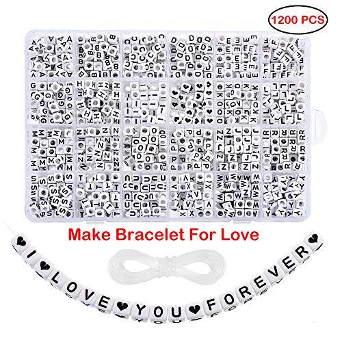 Heflashor 1200PCS Acrylic Letter Beads White Cube Letter Beads Alphabet Beads A-Z and Heart Beads for Jewelry Making/Bracelets/Necklaces/Kids 6 X 6mm