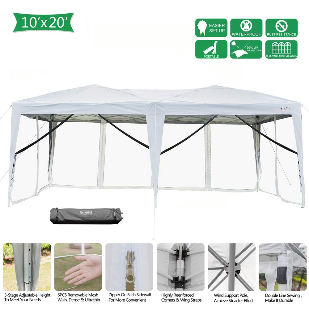 VINGLI 10x20ft Easy Pop Up Canopy Tent w/ 6 Removable Zippered Mesh Sidewalls & Portable Wheeled Carrying Bag, for Patio/Gazebo/Camping/Outdoor Activities, White UV Coated Sun Shade Shelter by VINGLI
