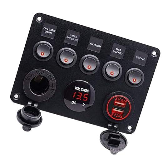 Grün LED Schaltpanel Schalter Voltmeter Wippschalter Panel RV Yacht 8 Gang 12V