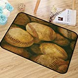 Vintage Decor Collection Area Rug Vintage Baseball Backgorund American Sports Theme Nostalgic Leather Retro Balls Artwork Dining Room Home Bedroom W67 x L78 Brown