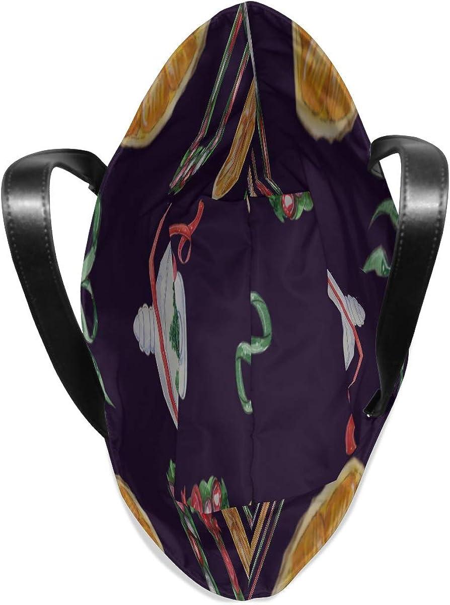 Zipper Tote Bag For Women Handle Satchel Lady Tote Bag Purse Messenger Bags Womens Shoulder Bags Cartoon Romantic Holiday Christmas Printing Boys Tote Bag