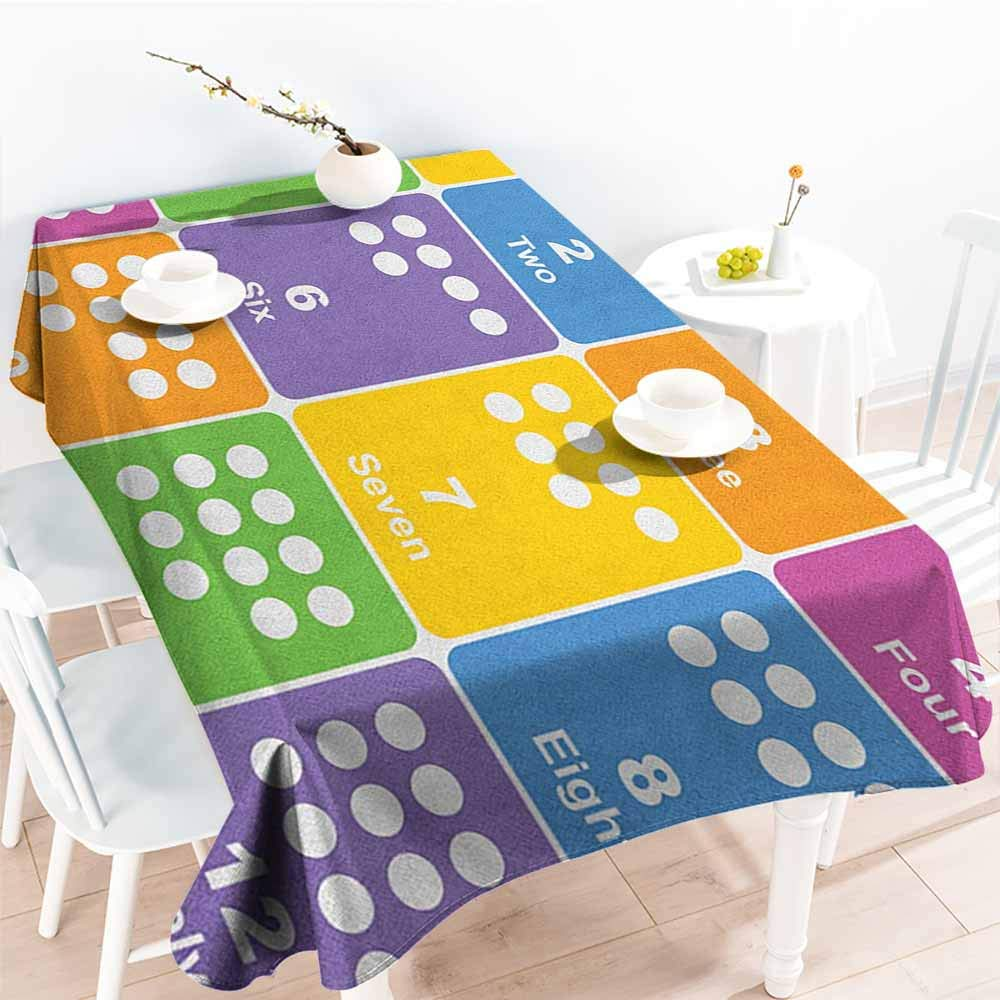 familytaste Kids Activity,Water Resistant Tablecloth Learning The Numbers Themed Educational Design Colorful Preschool Pattern 60''x 90'' Tablecloths for Sale