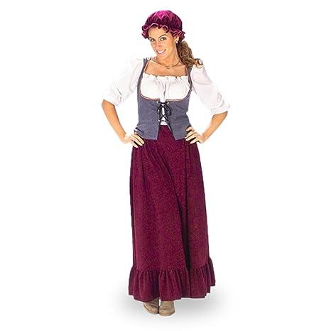 Disfraz de criada medieval - traje de la Edad Media para mujer, con cofia, en dos piezas - 40/42