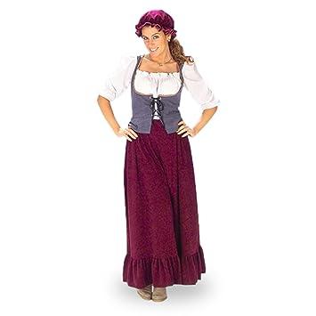 Disfraz de criada medieval - traje de la Edad Media para mujer, con cofia, en dos piezas - 44/46