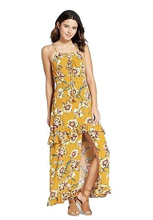 88fad54ac Xhilaration Women's Floral Print Maxi Dress- Variety - (Mustard, ...