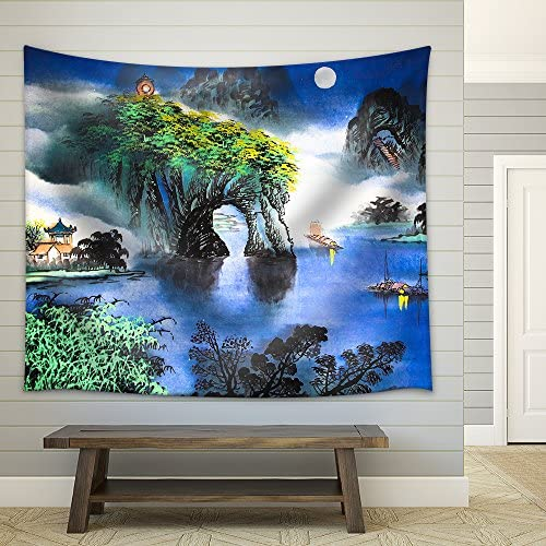 Chinese Landscape Watercolor Painting Fabric Wall