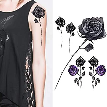Buy Weekend Tattoos Black And Purple Rose Temporary Tattoos For