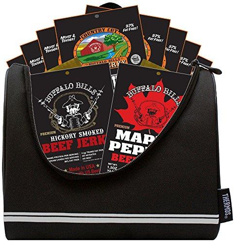 Buffalo Bills 12-Piece Beef Jerky Sampler Football 6-Pack Gift Cooler (12 mixed 1.5oz jerky packs) (Football Basket Ideas)