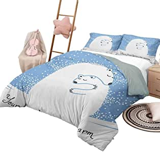 DayDayFun Bedspread Coverlet Set Animal Lightweight Bedroom Bedspread for All Season Mother Polar Bear Hugging Her Baby in The Snow North Winter Love Valentines Art King Size Blue White