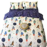 karever Space Rocket Print Cotton Boys Bedding Duvet Cover Sets Queen White and Blue 3 Pieces Planet Spaceship Star Full Girls Bedding Sets Zipper Closure