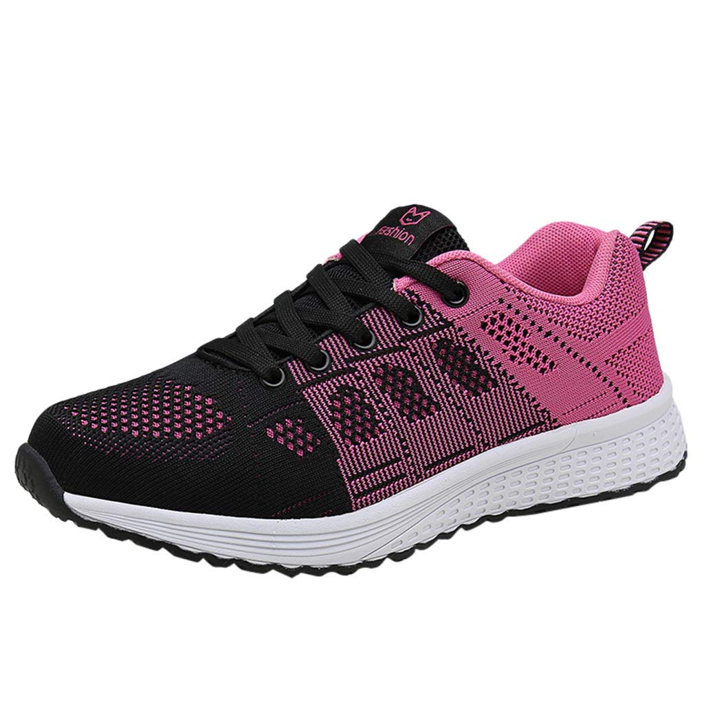 refulgence Womens Outdoor Mesh Gym Shoes Tennis Athletic Running Shoes Sneakers (US:5,Hot Pink)