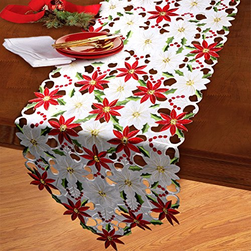 Aytai Embroidered Table Runners Cutwork Poinsettia Holly Leaf Table Linens Cloth for Home Wedding Holiday Christmas Decorations, 15 x 69 - Pretty Poinsettias