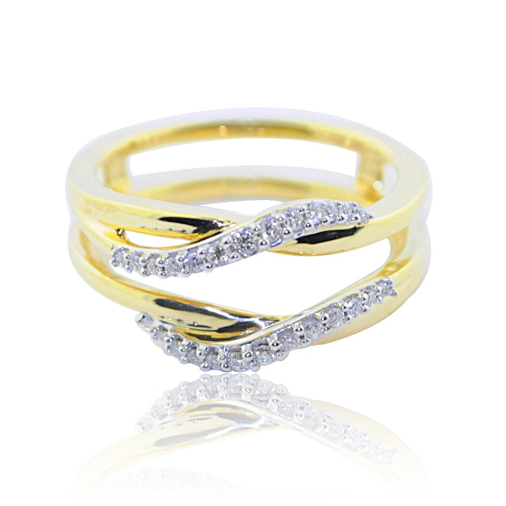 10K Yellow Gold Ring Jacket 1/16cttw Diamonds 8mm Wide Solitaire Guard by Midwest Jewellery