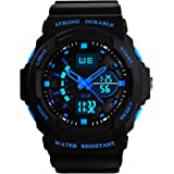 Kids Digital Analogue Watches - Boys 5 ATM Waterproof Sports Watch with Dual Time/Alarm/Chime Hourly Function, Electronic Outdoors Sport Wrist Watch for Teenagers Childrens - Black by VDSOW