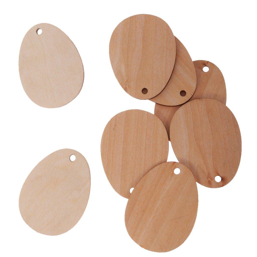 MagiDeal - Pack de 50 adornos embellecedores de huevo de madera sin acabados, para manualidades, con agujero., 6 cm: Amazon.es: Hogar