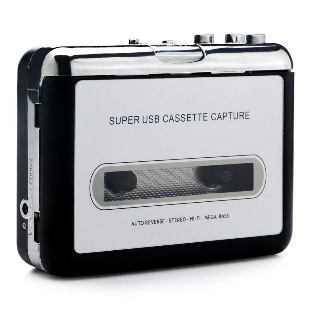 Portable Tape Cassette Convert MP3 Player Converter Audio Capture Music Player(Color:Black) FairytaleMM