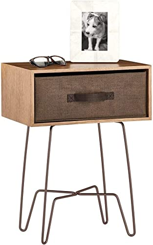 mDesign Modern Farmhouse Side End Table with Fabric Drawer – Hairpin Legs, Wooden Top – Sturdy Vintage, Rustic, Industrial Home Decor Accent Furniture for Living Room, Bedroom – Light Dark Brown