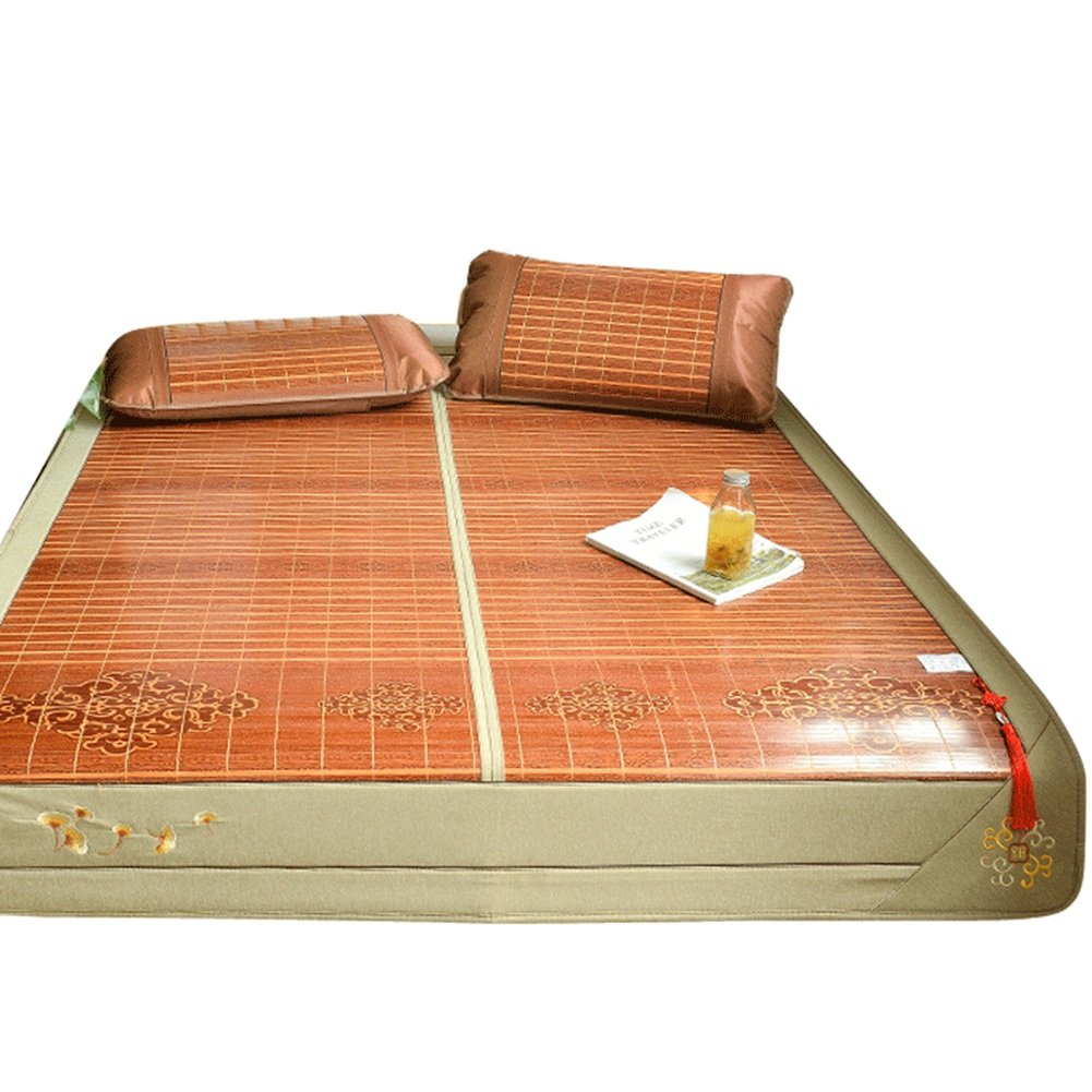 WENZHE Bambus Matratzen Sommer-Schlafmatten Strohmatte Teppiche Falten Doppelbett Doppelseitig Verfügbar Zuhause Multifunktion, 1,5/1,8 M