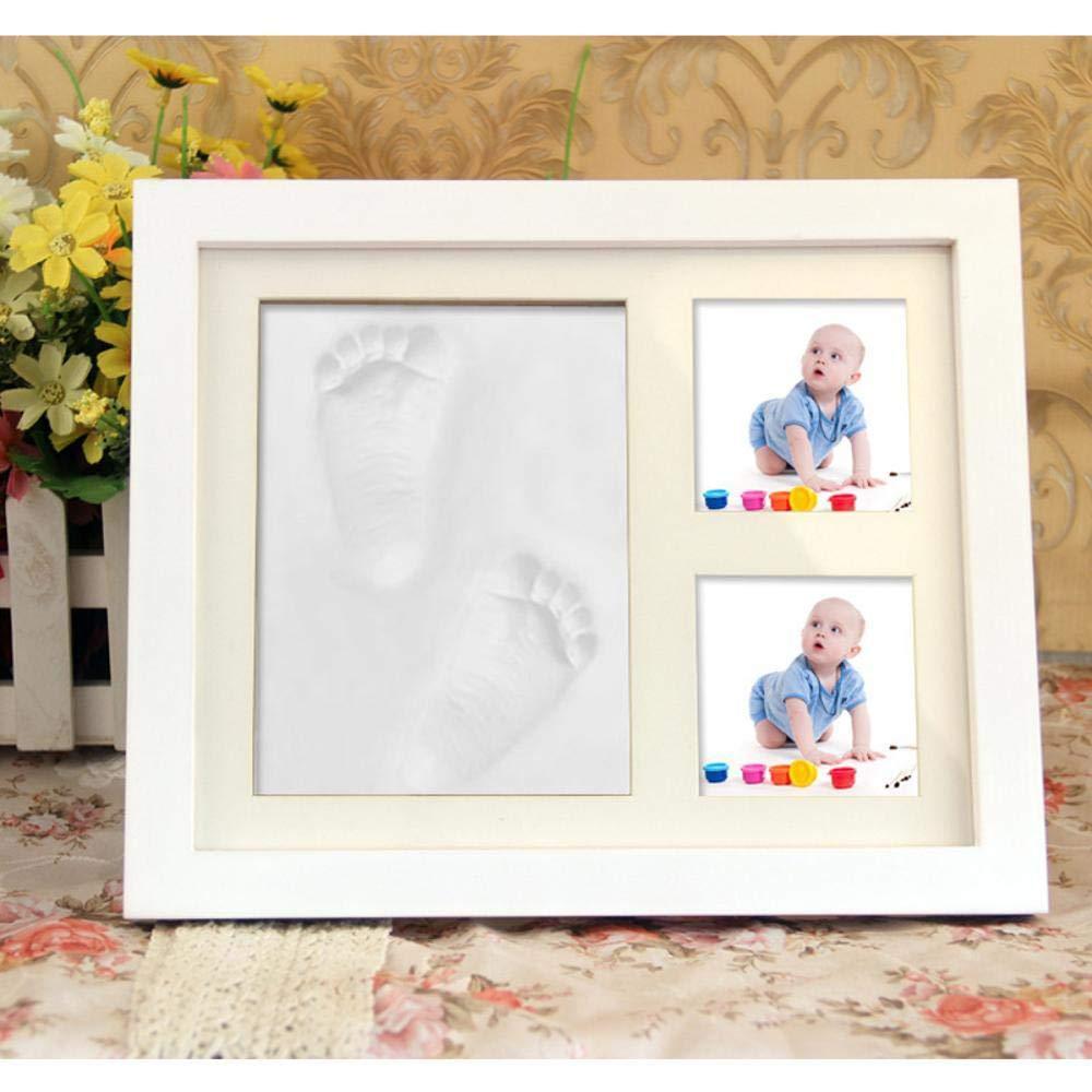 Kaige Cuadro marco bebé mano huellas barro recién huella digital marco de fotos a prueba de polvo foto marco souvenirs portaretrato: Amazon.es: Hogar