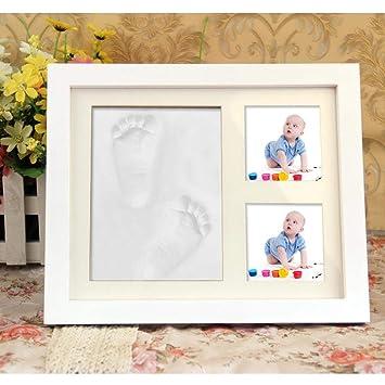 Yarmy Cuadro Marco bebé Mano Huellas Barro recién Huella Digital Marco de Fotos a Prueba de Polvo Foto Marco Souvenirs portaretrato Registre Cada Momento ...