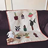 Crochet Cactus Botanical Print Baby Blanket