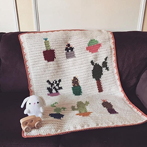Crochet Cactus Botanical Print Baby Blanket by Penguin Yarns