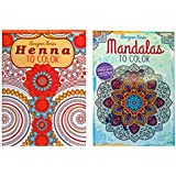 Set of 2 Designer Series Madalas To Color & Henna To Color Adult Coloring Book Set