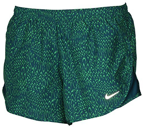 (Nike Women's Dri-Fit Allover Print Tempo Running Shorts Green (m))