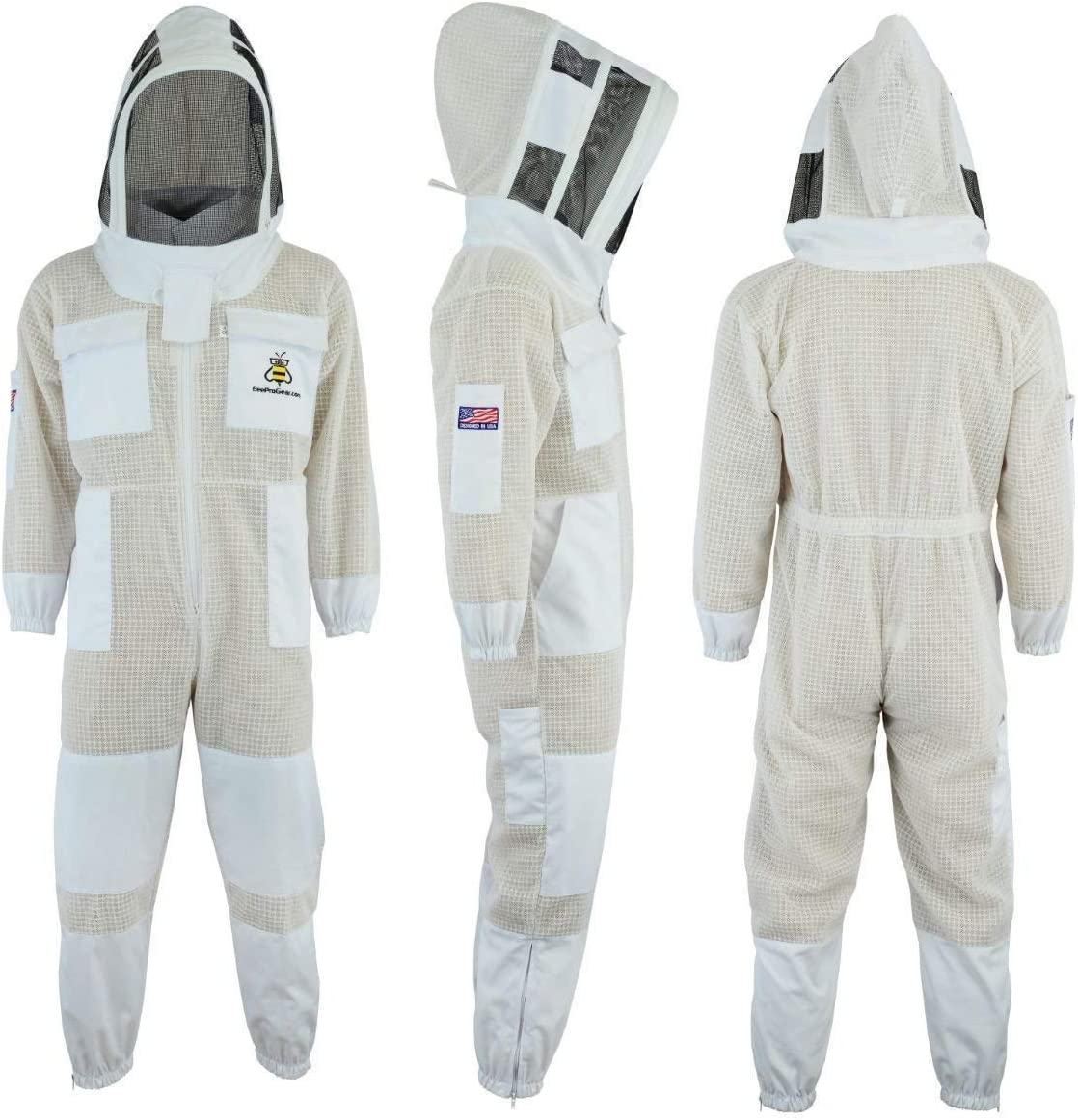 Beekeepers outfit fency Veil Bee Suit 3 Layers ultra ventilated safety protective unisex white fabric mesh beekeeping suit