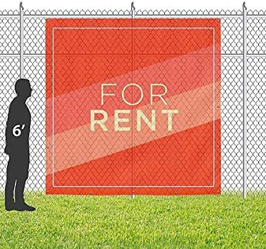 for Rent Modern Diagonal Wind-Resistant Outdoor Mesh Vinyl Banner 8x8 CGSignLab