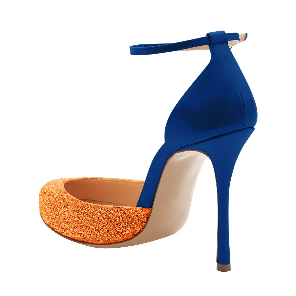 FSJ Women Fashion Almond Toe Ankle Strap D'Orsay Pumps High Heels Party Prom Sandals Size 4-15 US B0781W998M 7 B(M) US|Blue