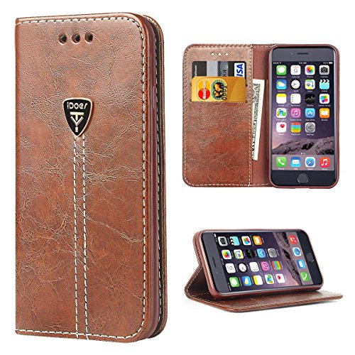 Wallet Style Leather Pouch Case - iPhone 6 Cases, iPhone 6s Case, Wallet Case for iPhone 6, Flip Leather Wallet Cases Fashion Slim Folio Book Cover with Credit Card Slots,Cash Pouch,Stand Holder,Magnetic Closure Coffee