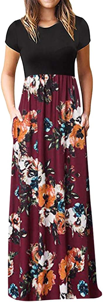 Womens Summer Contrast Short Sleeve Top Floral Printed Maxi Dress with Pockets