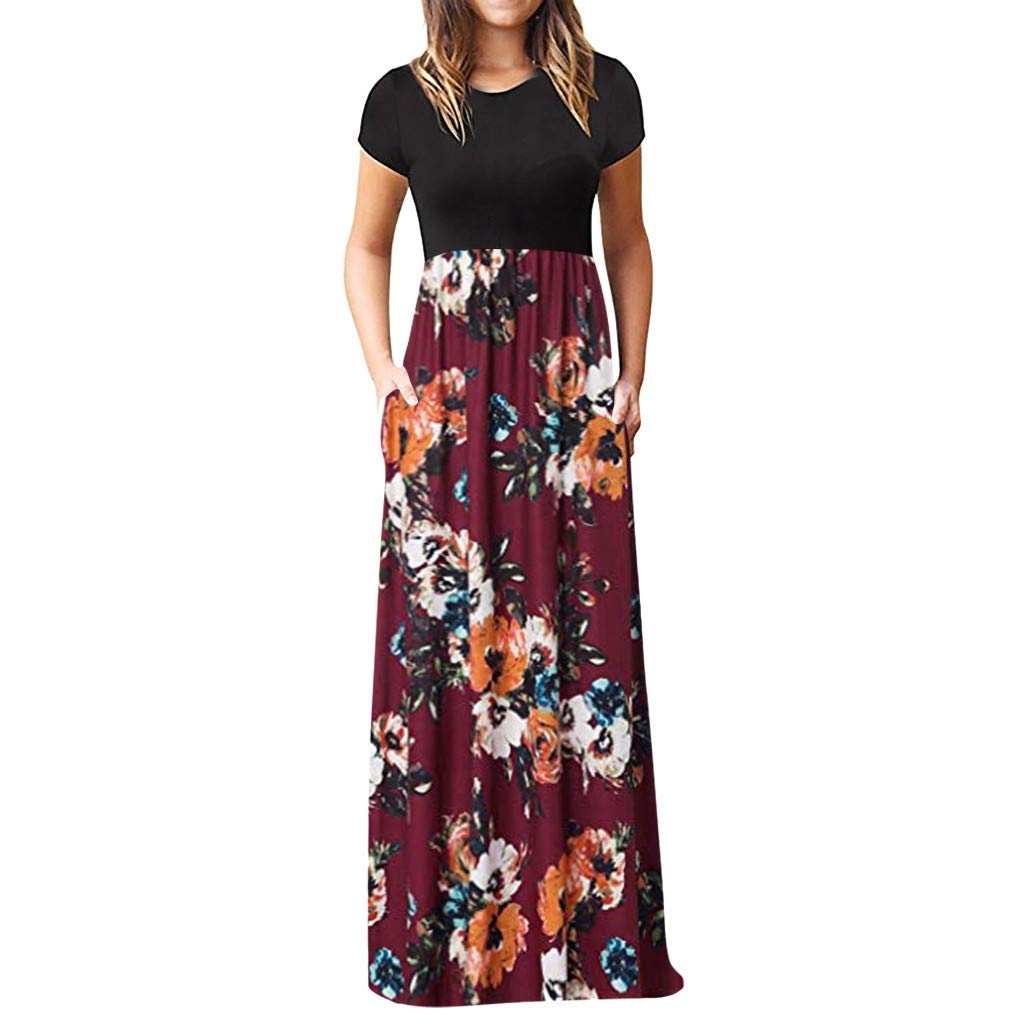 Chaofanjiancai Elegant Women's Maxi Dress Floral Printed Summer Short Sleeves Casual O-Neck Long Maxi Dress