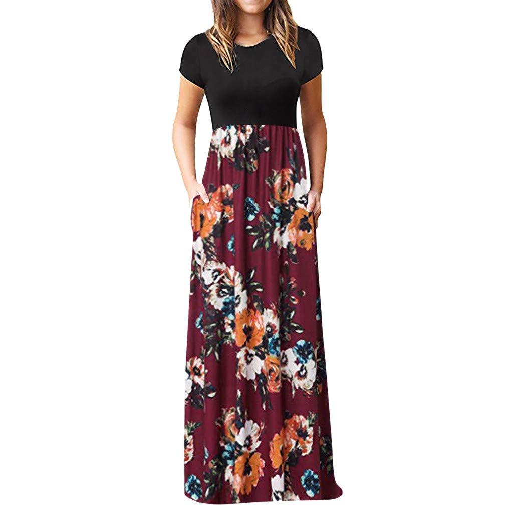 Peigen Women's Short Sleeve Floral Print Maxi Party Dresses,Women's Casual Sleeve O-neck Print Maxi Tank Long Dress