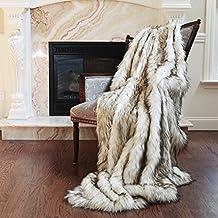 """Best Home Fashion Faux Fur Throw - Full Blanket - Bleached Finn Raccoon - 58""""W x 84""""L - (1 Throw)…"""