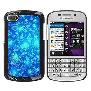 For BlackBerry Q10 Case , Winter Snowflake Blue Sky Chrismas - Diseño Patrón Teléfono Caso Cubierta Case Bumper Duro Protección Case Cover Funda