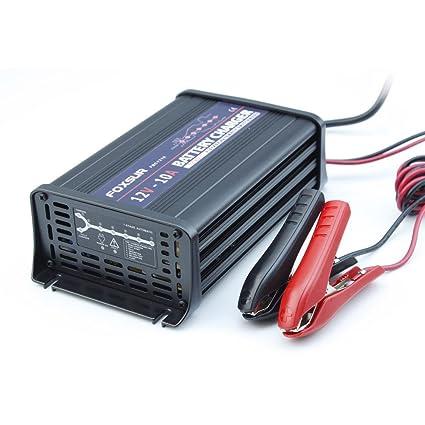FOXSUR 12V 10A Cargador de batería inteligente de 7 etapas, Gel ácido de plomo Cargador de batería AGM húmedo, Cargador de batería de coche, Cargador ...
