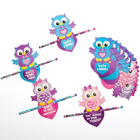 Amazon Com Fun Express Owl Valentine S Day Cards With Pencils Toys